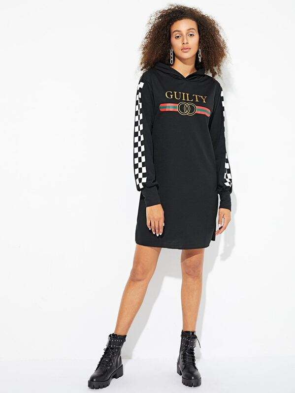 Letter And Checkerboard Print Hoodie Dress