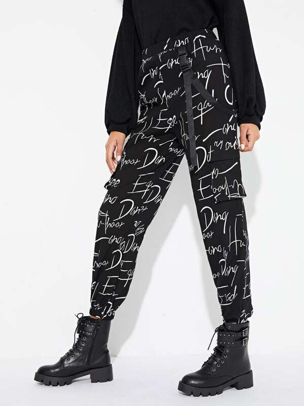 Letter Print Buckle Detail Pants
