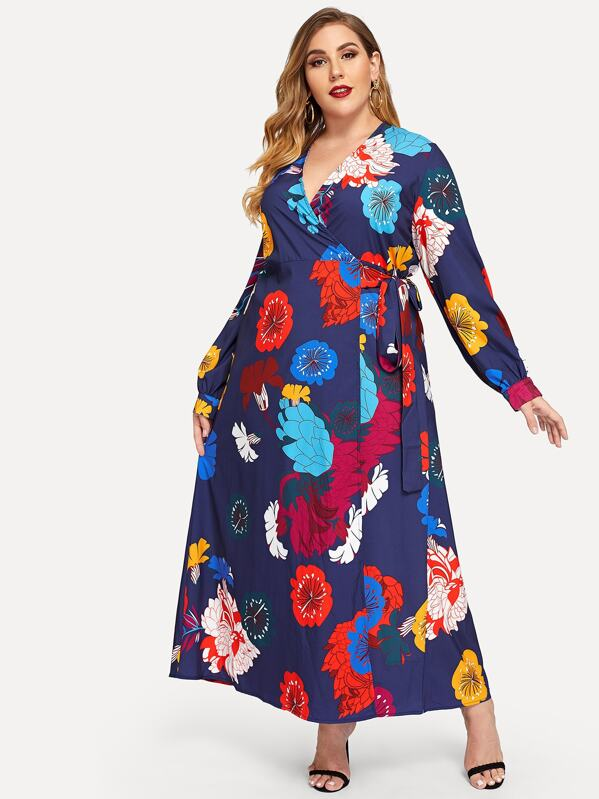 Plus Floral Print Wrap Dress