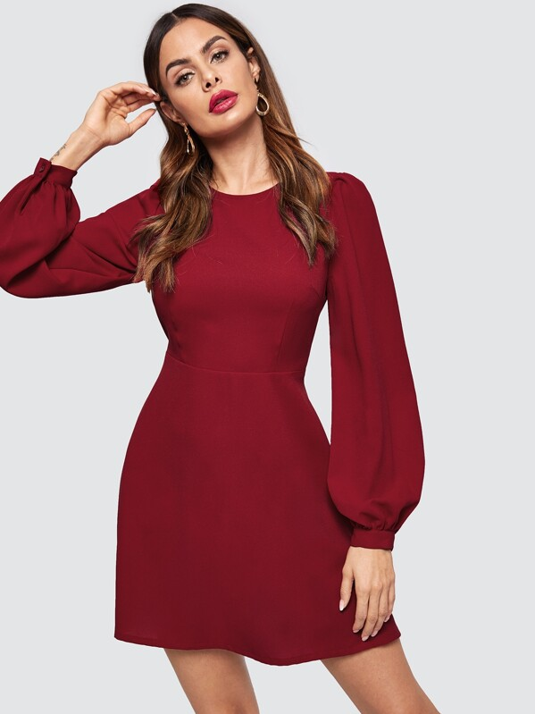 Bishop Sleeve Fit & Flare Dress by Shein
