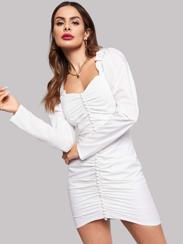 Button Front Ruched Dress by Shein
