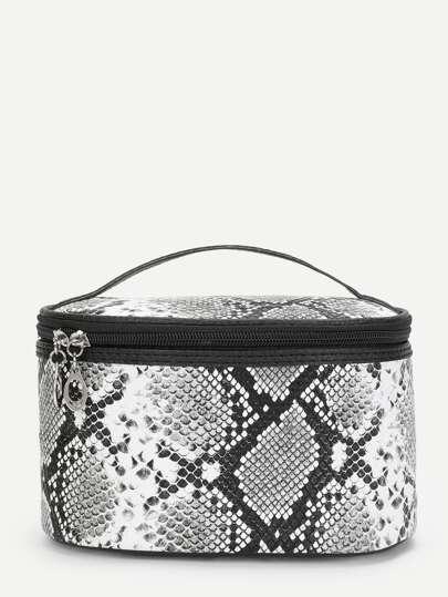 15f7fb2755b8 Snakeskin Print Zipper Around Makeup Bag