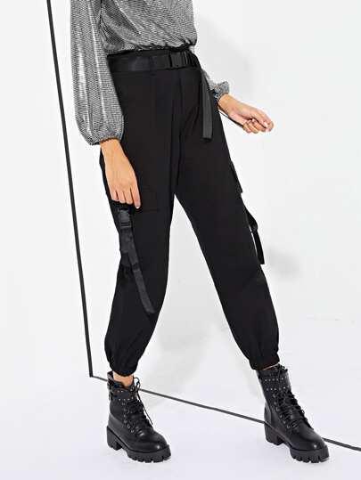 Pantalones sólidos con diseño de bolsillo fe43ed73ee72