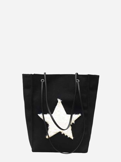 Bolsa de mano de lona con diseño de estrella mullida 258bdf6bf80b