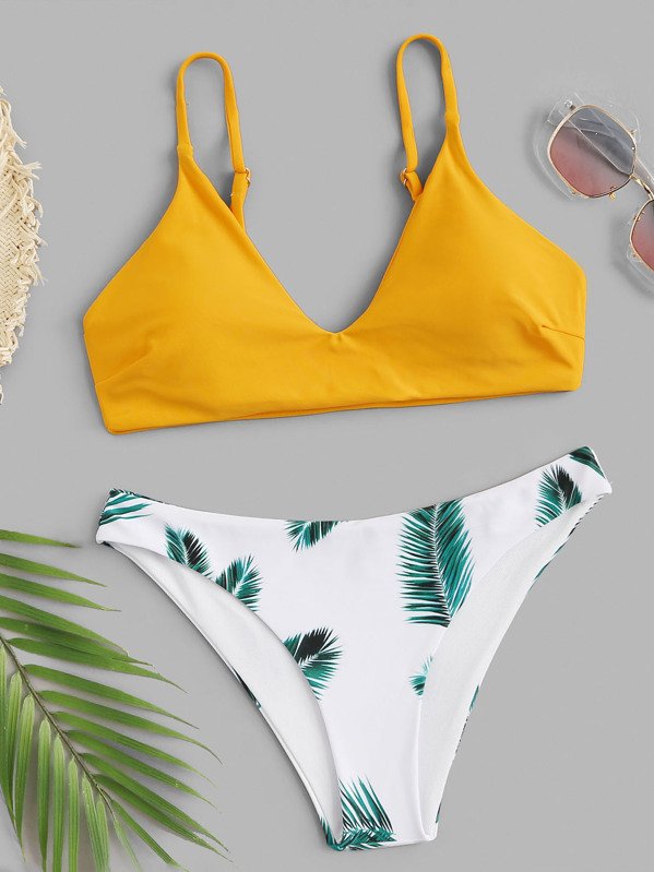 ce1a391c93 Random Leaf Print Mix and Match Bikini Set -SHEIN(SHEINSIDE)