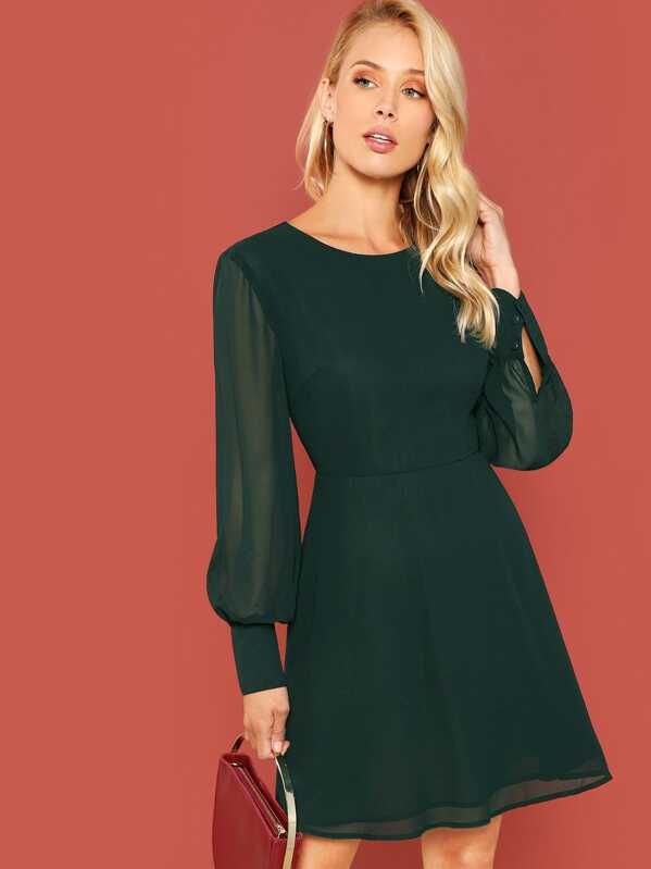 Lantern Sleeve Fit And Flare Dress by Shein