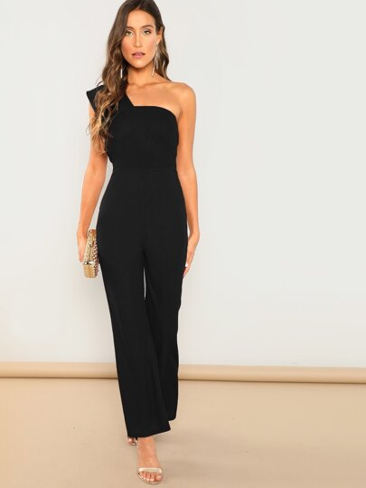 921626a66423 Asymmetrical Neck Solid Textured Jumpsuit