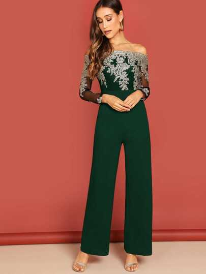 4deb0e0e8c0 Off Shoulder Embroidered Mesh Bodice Jumpsuit