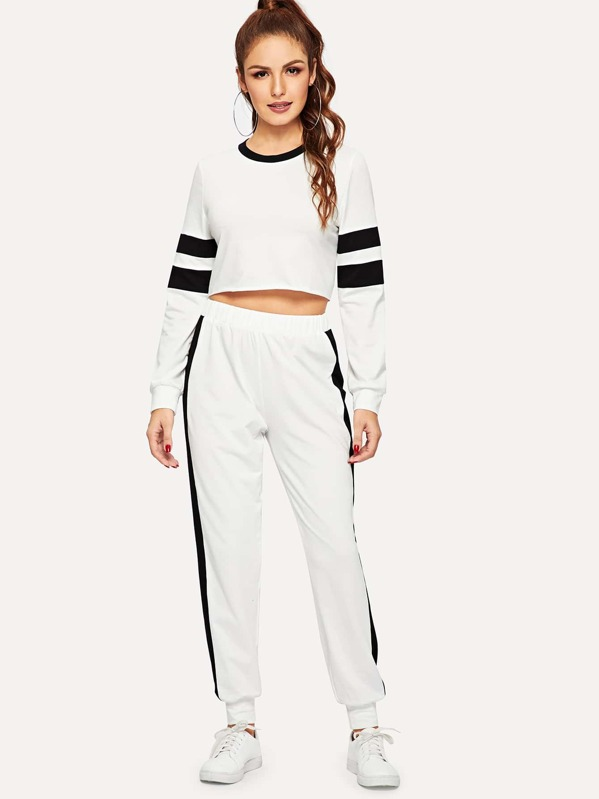 Contrast Panel Crop Pullover & Sweatpants Set