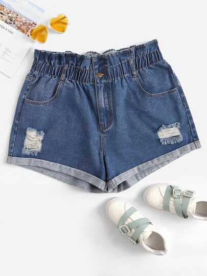 19af22453b0 Plus Ruffle Waist Ripped Detail Denim Shorts