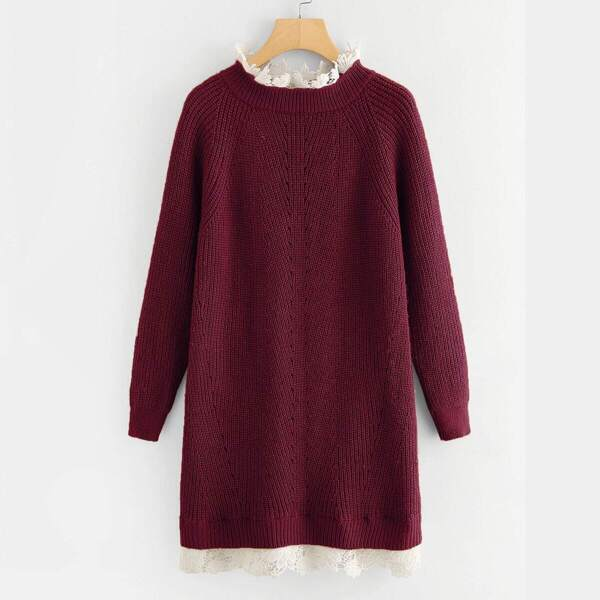Plus Guipure Lace Trim Raglan Sleeve Sweater Dress