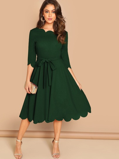 596139275734 Scallop Trim Belted Fit   Flare Dress