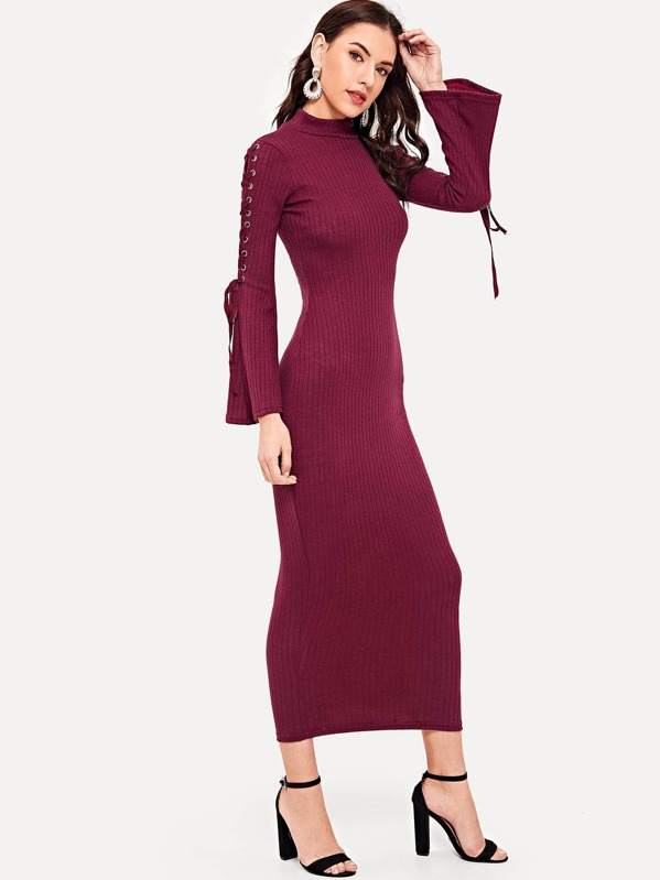 Lace Up Flounce Sleeve Longline Sweater Dress