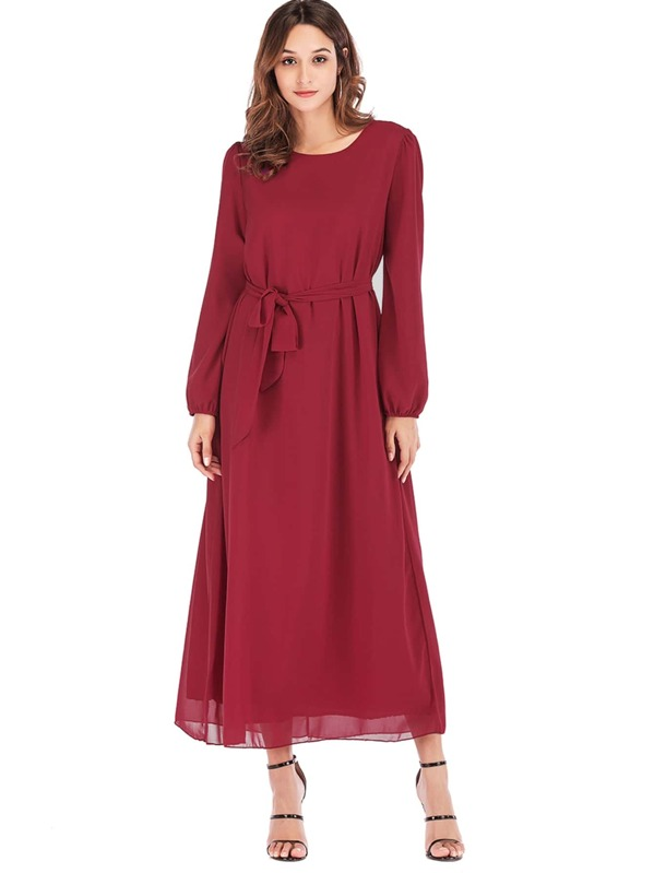 Waist Tie Bishop Sleeve Longline Dress