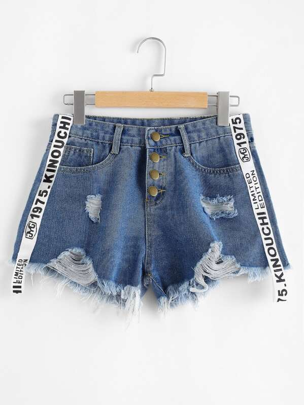 Contrast Letter Ribbon Ripped Raw Hem Denim Shorts