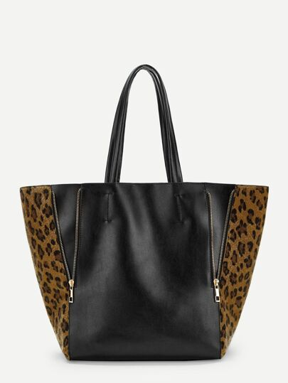50248eac196a Contrast Leopard Pattern Tote Bag