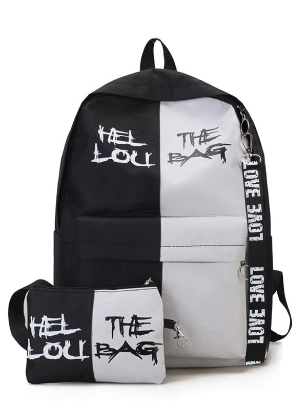 Men Two Tone Backpack With Clutch