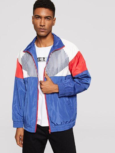 bd4cbca0f689b Men Zip Up Color-Block Jacket