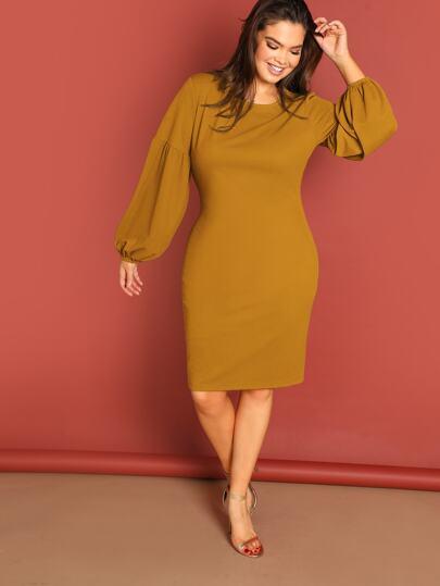 858a6a2f29 Plus Drop Shoulder Split Solid Dress