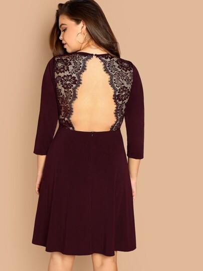 88d26a2687b Plus Zip Back Contrast Lace Fit   Flare Dress