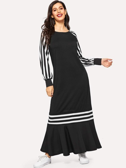 3aceb3853c Striped Raglan Sleeve Ruffle Hem Longline Dress -SheIn(Sheinside)