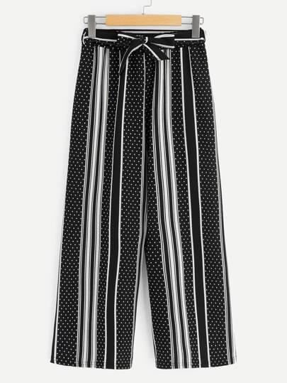 95fa5601b25 Polka Dot Striped Belted Wide Leg Palazzo Pants