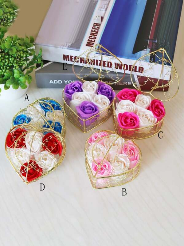 Heart-shaped Boxed Artificial Flower 1pc