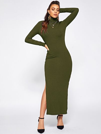 Split Side Rib-knit Fitted Dress 844ea8b0f43d