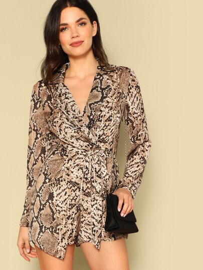 6abc8a1f0e4d Wrap Front Snakeskin Blazer Romper With Belt