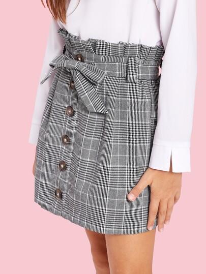 Jupe boutonnée à carreaux avec taille plissée et ceinture