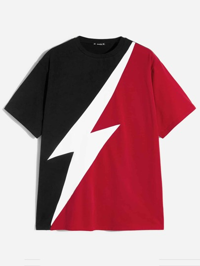 75e815277c88 Men Color-block Lightning Print Tee