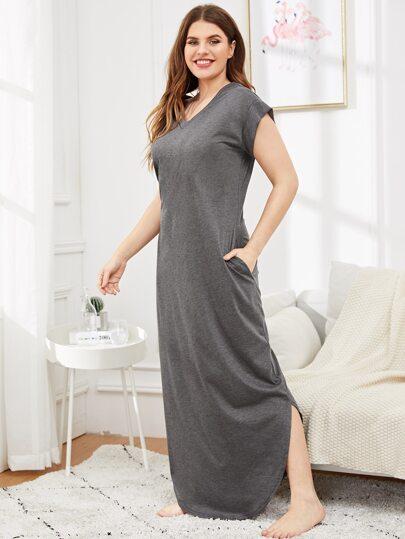 1637707bf43 Plus Solid Split Side Longline Night Dress