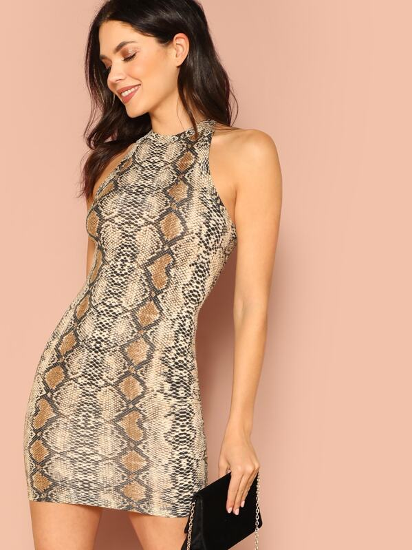 Snakeskin Print Sleeveless Bodycon Dress by Shein