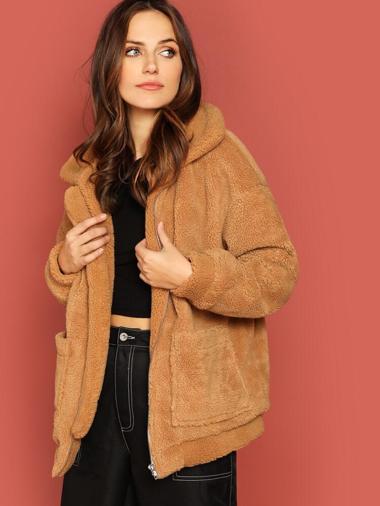 8f6aa7d03b8 Drop Shoulder Oversized Teddy Jacket | SHEIN