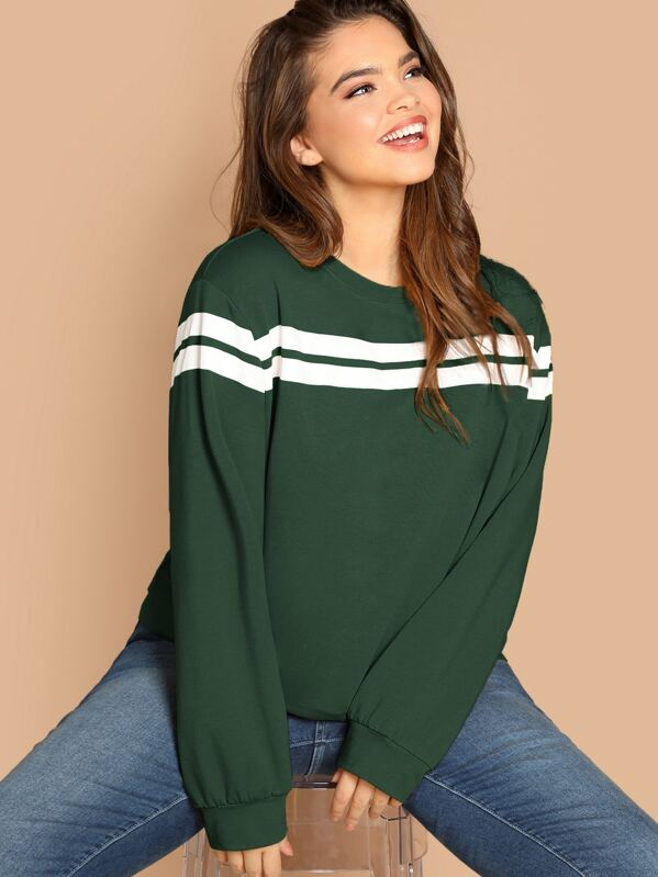 Plus Striped-panel Pullover