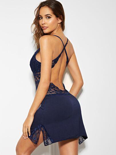 Crisscross Back Lace Trim Cami Dress With Panty 125b28bea