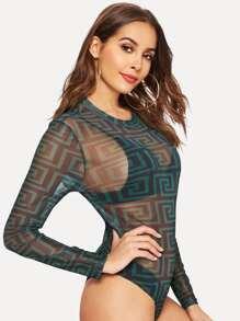 11e99c8590 Greek Fret Print Sheer Fitted Bodysuit