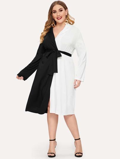 996b78d9666b3 Siyah ve Beyaz Renkli klişe Gündelik Artı Beden Elbiseler