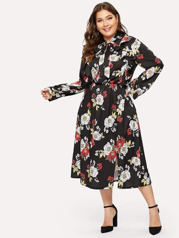 Plus Tie Neck Floral Print Dress