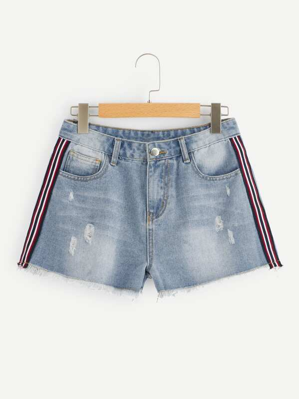 Contrast Tape Side Ripped Raw Hem Denim Shorts