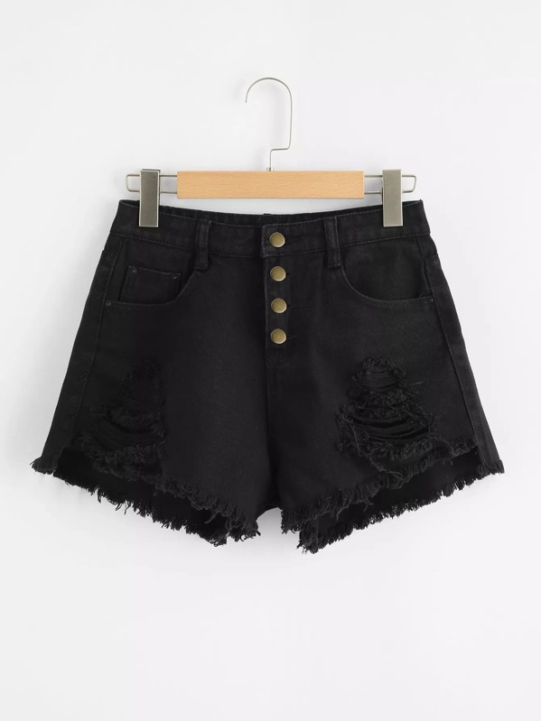 Ripped Raw Hem Button Fly Denim Shorts