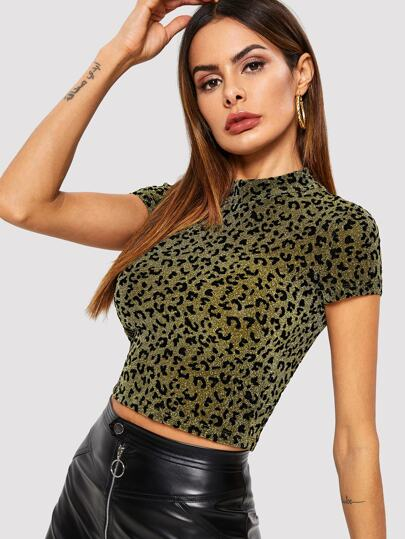 ea55ad9b1d176 Mock-neck Leopard Glitter Crop Top