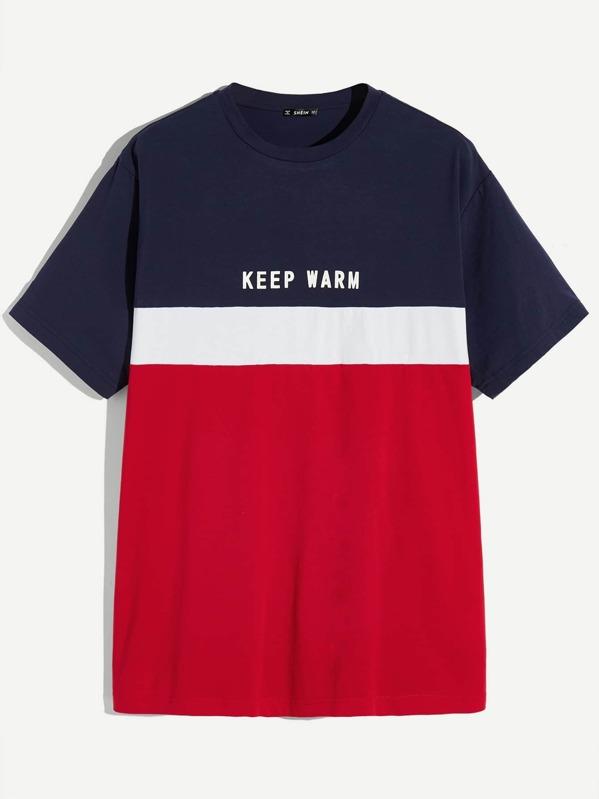 dc0b2f29f686 Men Letter Print Color-block T-shirt -SheIn(Sheinside)