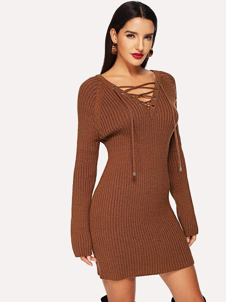 0acfab2a5c1 Raglan Sleeve Lace Up Neck Bodycon Sweater Dress