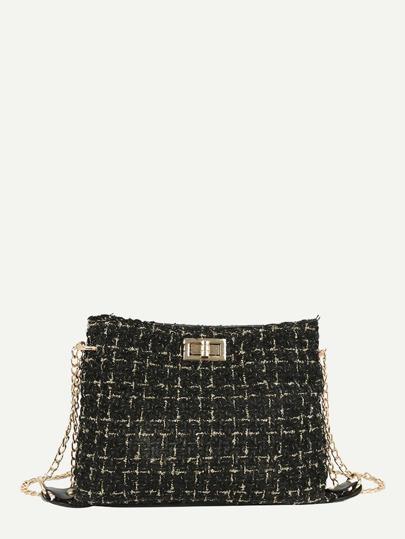 Bolsa tweed con diseño de cerradira girante con cadena 2018a21f4db