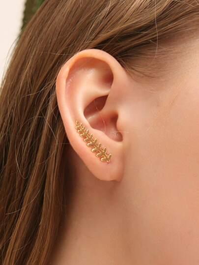 Leaf Ear Climber & Stud Earring 2pcs