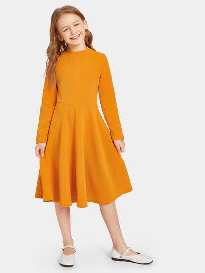 Girls Zip Back A-Line Dress