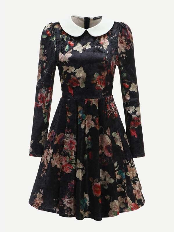 302822b243 Cheap 40s Contrast Collar Floral Velvet Fit & Flare Dress for sale ...
