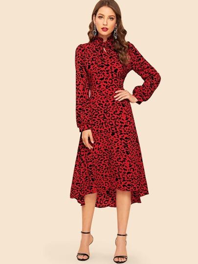 b137b9f373 Tie Neck High Low Hem Leopard Print Dress
