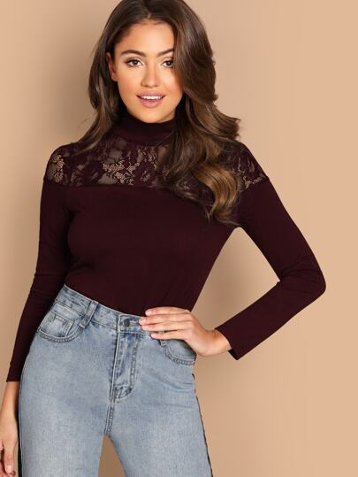 Mock-neck Lace Insert Form Fitting Tee 4f031e221
